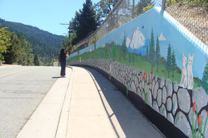 Blackwell and a group Dunsmuir high school art students produced the 300ft mural on Sacramento Avenue between Cedar St. and Branstetter Ave in Dunsmuir.