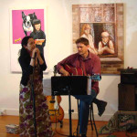 Vocailst, Ling Ling Gepte and guitarist, Dave Theno performed at an art opening.