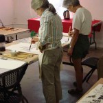 Two of the students in Cheryl Petty's Chinese Brush Painting workshop.