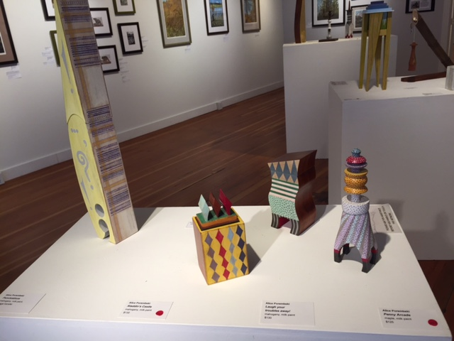 "Several delightfully whimsical boxes by Alice Porembski in our ""ink stains and wood dust"" show have sold."